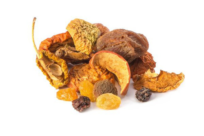 A mixture of dried fruit