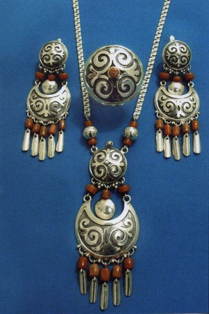 Silver jewelry with national ornament