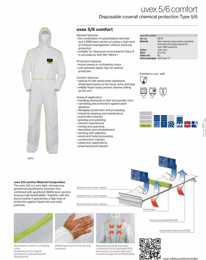 <p>we are looking for coverall (UVEX 5/6)as per the attachment,&nbsp;</p>  <p><strong>Quantity:</strong> 3 Million per month&nbsp;</p>  <p><strong>color:</strong> white&nbsp;</p>  <p><strong>certificate:</strong> ISO&nbsp;</p>  <p><strong>sizes:</strong> M to 3XL</p>  <p><strong>destination</strong>: Dubai, Jebel Ali port &nbsp;</p>  <p><strong>contract:</strong> 4 month&nbsp;</p>  <p><strong>it is very urgent&nbsp;</strong></p>  <p>&nbsp;</p>  <p><strong>Regards&nbsp;</strong></p>